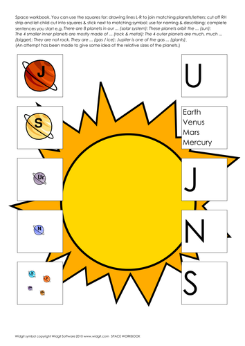 Space and Planets activity book (illus) Widgit
