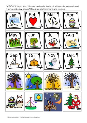 Vocabulary (basic) on picture pages (Widgit CIP)