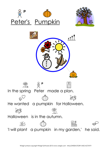 Halloween Pumpkin Story (illustrated) - Widgit CIP