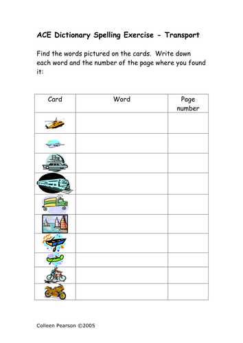Ace Spelling Dictionary Exercises - SEN by colleenpearson ...
