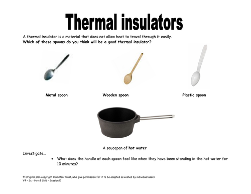 Thermal insulators conductors by HamiltonTrust Teaching – Conductors and Insulators Worksheet