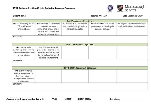 BTEC Business Studies Unit 1, Assessment Files