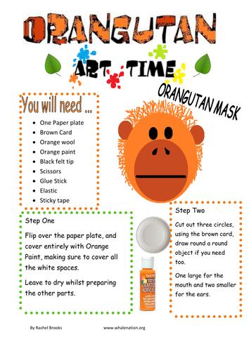Orangutan mask art activity