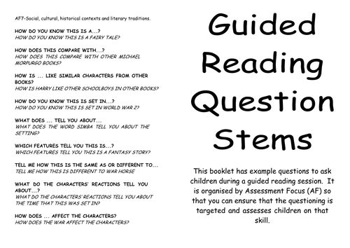Guided Reading Question Stems