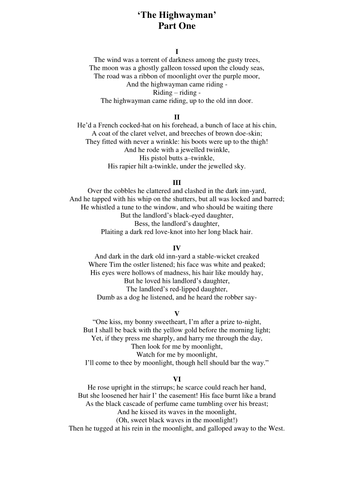 Worksheets Highwayman Poem the highwayman by alfred noyes teach first teaching resources tes