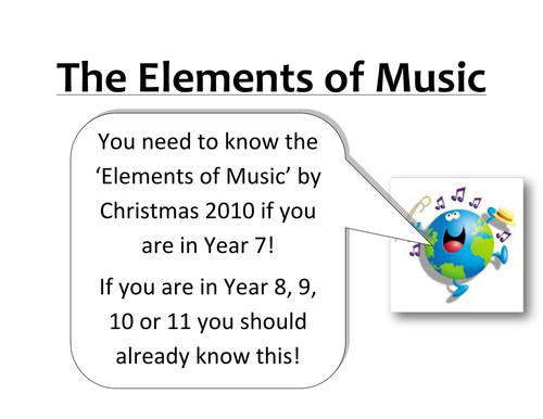 Music Displays; Keywords and Elements of Music