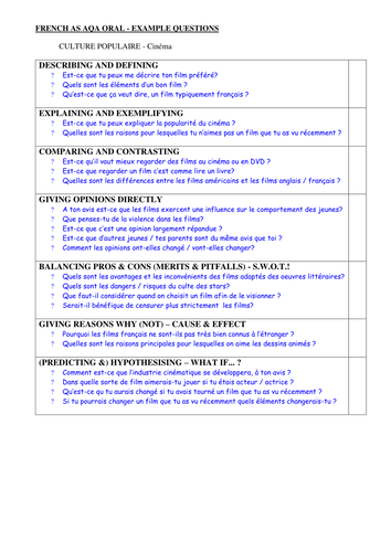 AS AQA example oral questions