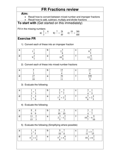 Fractions review worksheet by eddie181 teaching resources tes ibookread ePUb