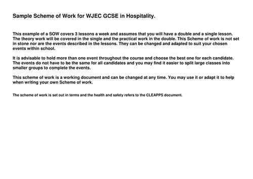 SOW for new WJEC GCSE in Hospitality