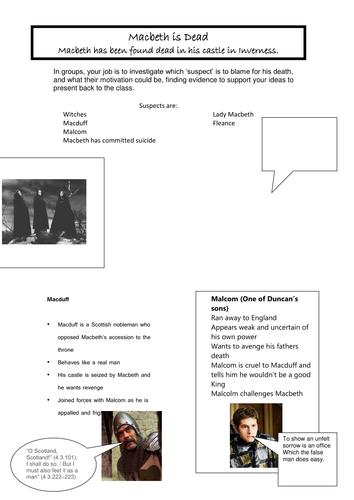 Macbeth Murder Mystery: Interactive Group Task