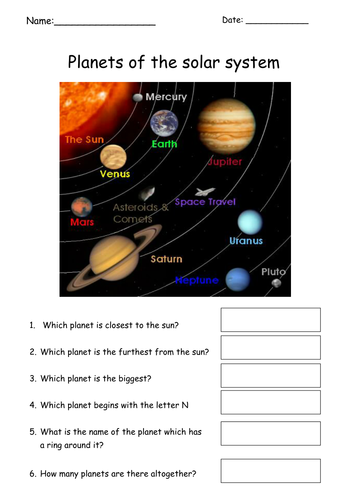 Simple Planets Worksheet By Tracey1981 Teaching