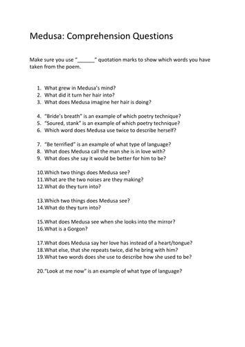 Medusa Comprehension Questions