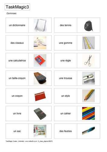 French Class Items / Pencil case items