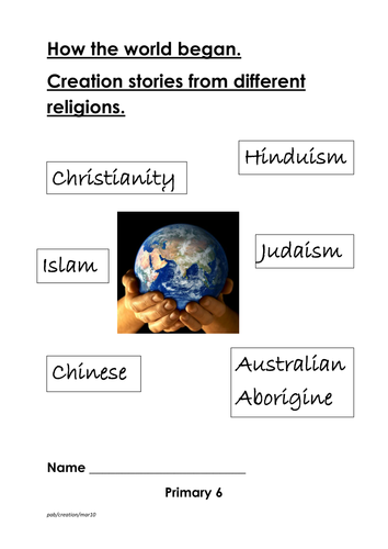 Creation stories from range of major religions by Pamela2223 ...