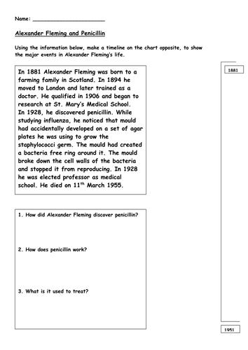 8C Alexander Fleming Timeline Worksheet