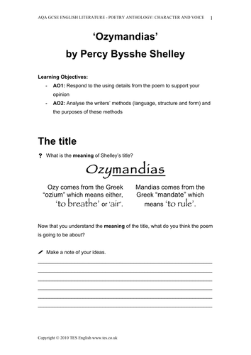 teaching 39 ozymandias 39 by percy bysshe shelley by tesenglish teaching resources. Black Bedroom Furniture Sets. Home Design Ideas