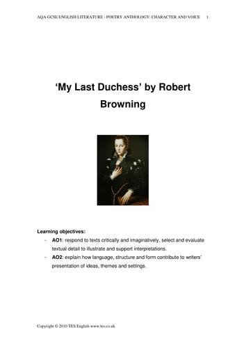 my last duchess by robert browning analysis