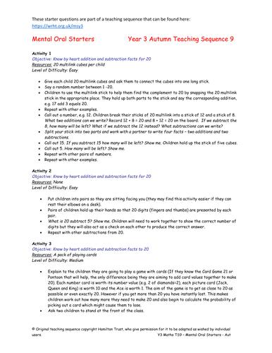 Mental Oral Starters - Year 3 by HamiltonTrust | Teaching