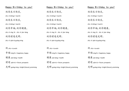 Happy Birthday Song In Chinese Teaching Resources