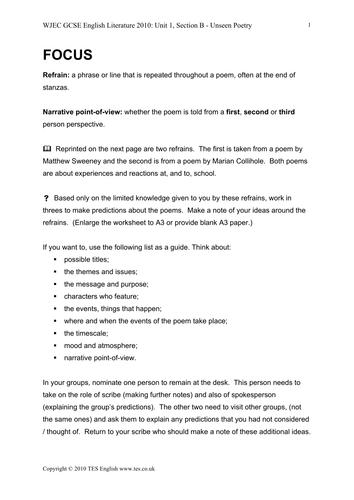 GCSE English Literature: Unseen Poetry Resource