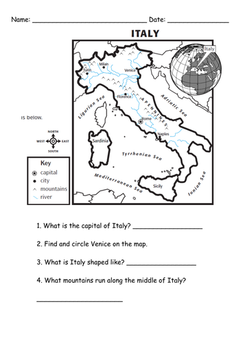 Italy Worksheet By Simonh Teaching Resources Tes