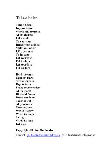 Take A Bairn Christmas Spell Peerie Doo Lyrics By