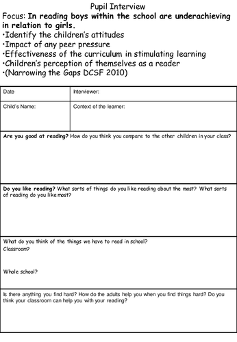 Literacy Scrutiny And Pupil Interview Support By Clairebarker11