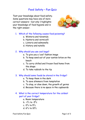 Fun Food Safety Quiz By Goldson1 Teaching Resources Tes