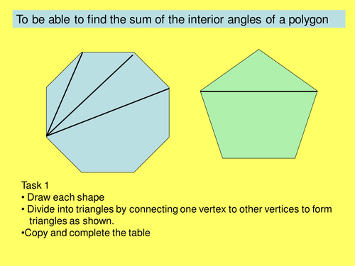 sum of Interior angles of polygons by Jane CH Teaching – Angles of Polygons Worksheet