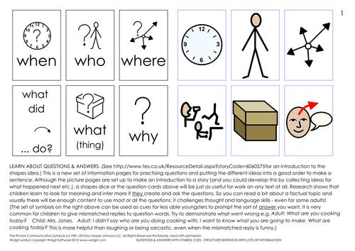 Shape cues - make sentences and  do worksheets