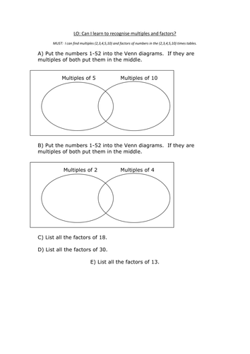 Multiples And Factors Worksheets By Alisongilroy Teaching