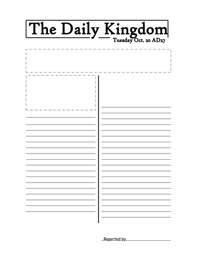 Newspaper template by jmurphy37 teaching resources tes for Free printable newspaper template for students