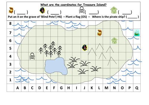 Coordinates Treasure Map KS1 by mrdhenshaw Teaching Resources – Map Grid Worksheets