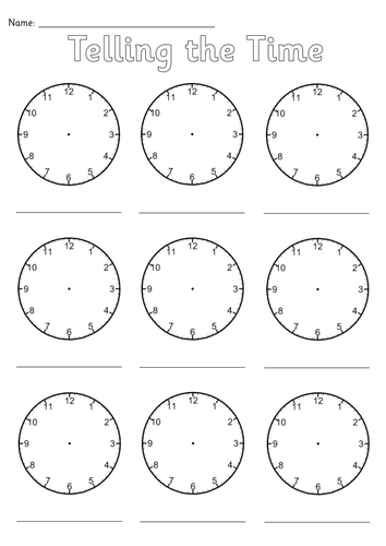 Blank Clocks Worksheet Teaching Resources
