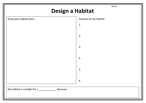 Design A Habitat Worksheet By Purpledna Teaching Resources