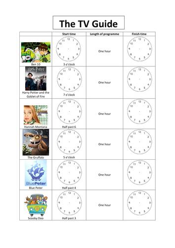 TV Guide worksheet