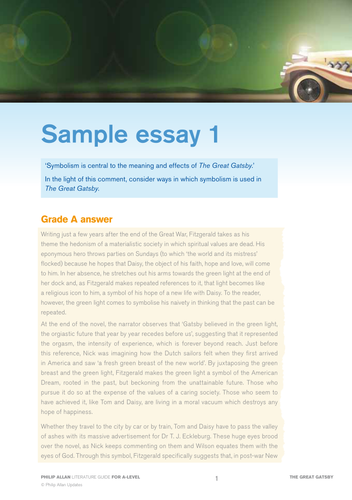 great gatsby sample essay student response by kb  great gatsby sample essay student response by kb2009 teaching resources tes