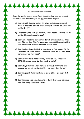 Worksheets Christmas Subtraction Problems christmas word problems by cleggy1611 teaching resources tes addition subtraction multiplication lower middle doc