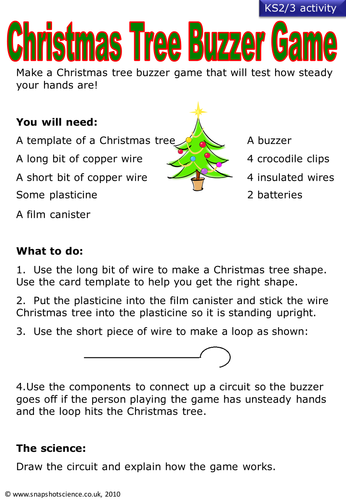 Worksheet. Christmas science games by SnapshotScience  Teaching Resources  Tes