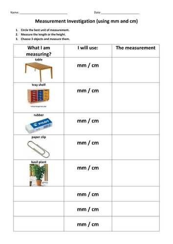 measurement investigation by diannadd teaching resources tes. Black Bedroom Furniture Sets. Home Design Ideas