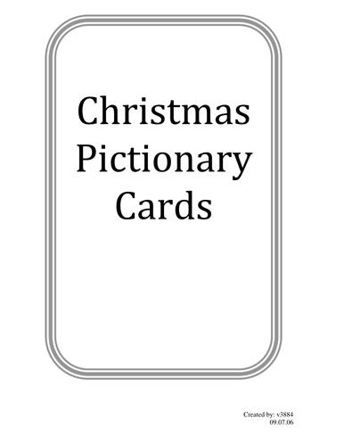 Christmas Pictionary.Christmas Pictionary Cards
