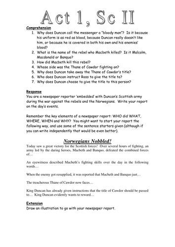 macbeth act 1 scene 2 newspaper task worksheet by richardwarren teaching resources tes. Black Bedroom Furniture Sets. Home Design Ideas