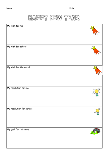 new year resolution and goal sheet by ann50 teaching resources tes