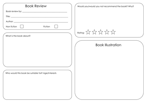 Book review template by hanaprice - Teaching Resources - Tes