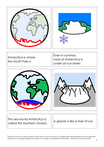 Antarctica - reading for meaning