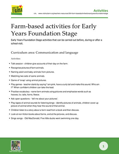 Farm-based activities for Early Years Foundation Stage