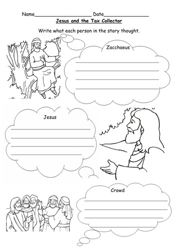 Jesus and Zacchaeus worksheet
