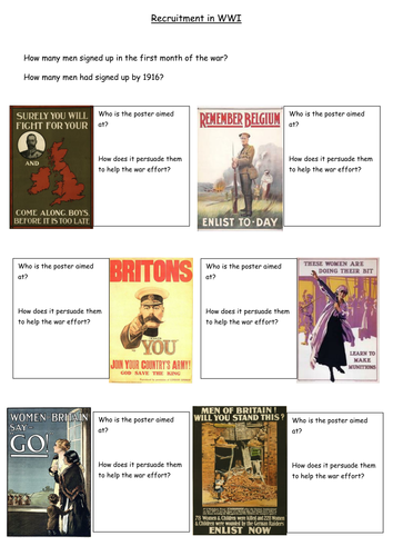 Recruitment In Wwi Source Worksheet By Sarahscd Teaching