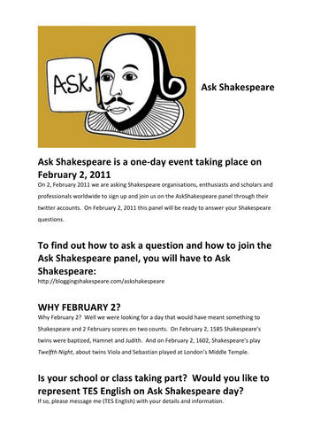 Ask Shakespeare: Interactive Twitter Activity Day!