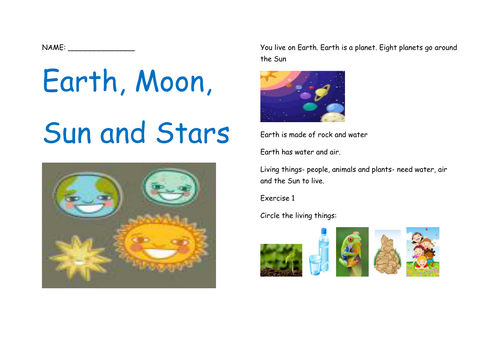 Earth, Moon, Sun and Stars by rtea - Teaching Resources - TES